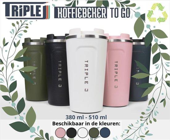 Koffiebeker To Go | Herbuikbare Koffiebeker | Thermosbeker Auto | Duurzame Koffie Beker | Thermosfles | RVS Reisbeker | Dubbelwandige Travel Mug | 380 ml | Wit