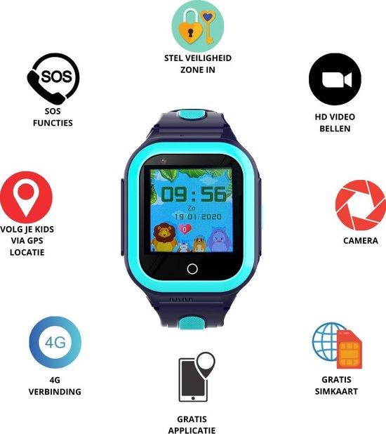 GPS Horloge 4 YOU - GPS Horloge kind - GPS Tracker - Smartwatch voor kinderen - Kinderhorloge - Gratis simkaart en Gratis app - SOS Knop - 4G verbinding- Waterdicht - Live GPS Locatie - HD (Video)bellen - Veiligheidzone instellen - Camera - Blauw 24S