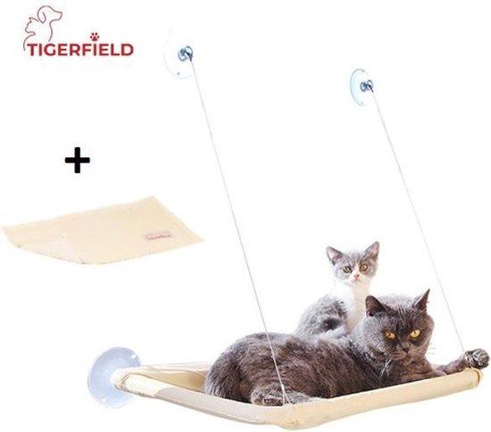 Tigerfield kattenmand voor aan het raam + extra kleedje – Hangmat – Kussen – Mand