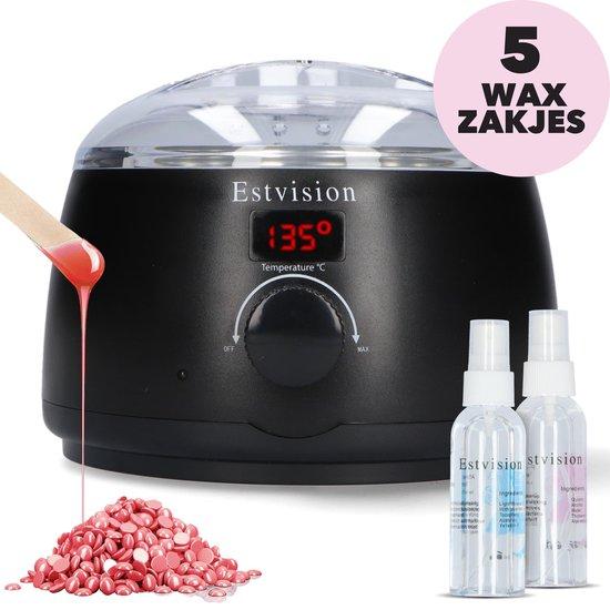 Estvision Wax Set- 500g Wax Beans- 30 Spatels - Before & After Spray (2 x 100ml) -Wax Ontharen- Wax Apparaat- Wax Verwarmer- Zwart
