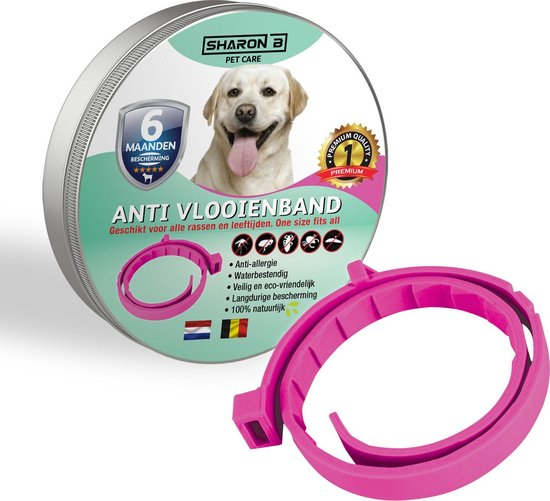 Vlooienband voor honden- roze - 100% natuurlijk - geschikt voor alle rassen - bevat geen giftige chemicaliën - beschermt tegen teken en vlooien - langdurige bescherming - waterproof - veilig voor mens en dier