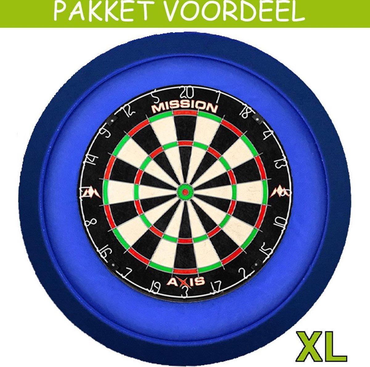 Dartbord met Verlichting Voordeelpakket (Blauw) + Mission Axis + Lena DeLuxe XL