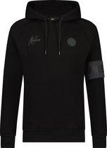 Malelions zwarte sport hoodie met grijze logo maat medium
