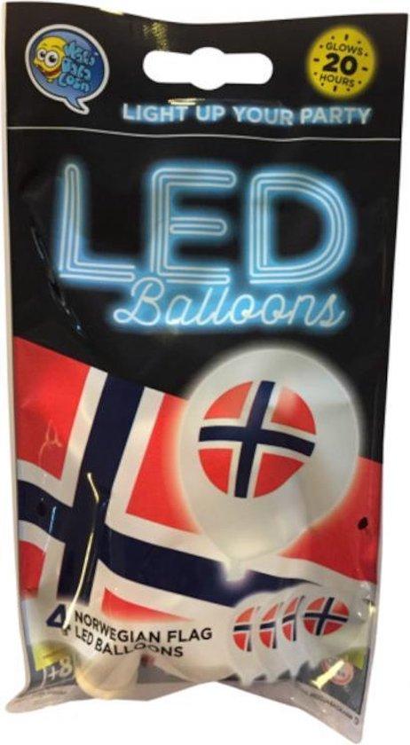 Wefiesta Ballonnen Led Norway 25 Cm Latex Wit/rood 4 Stuks