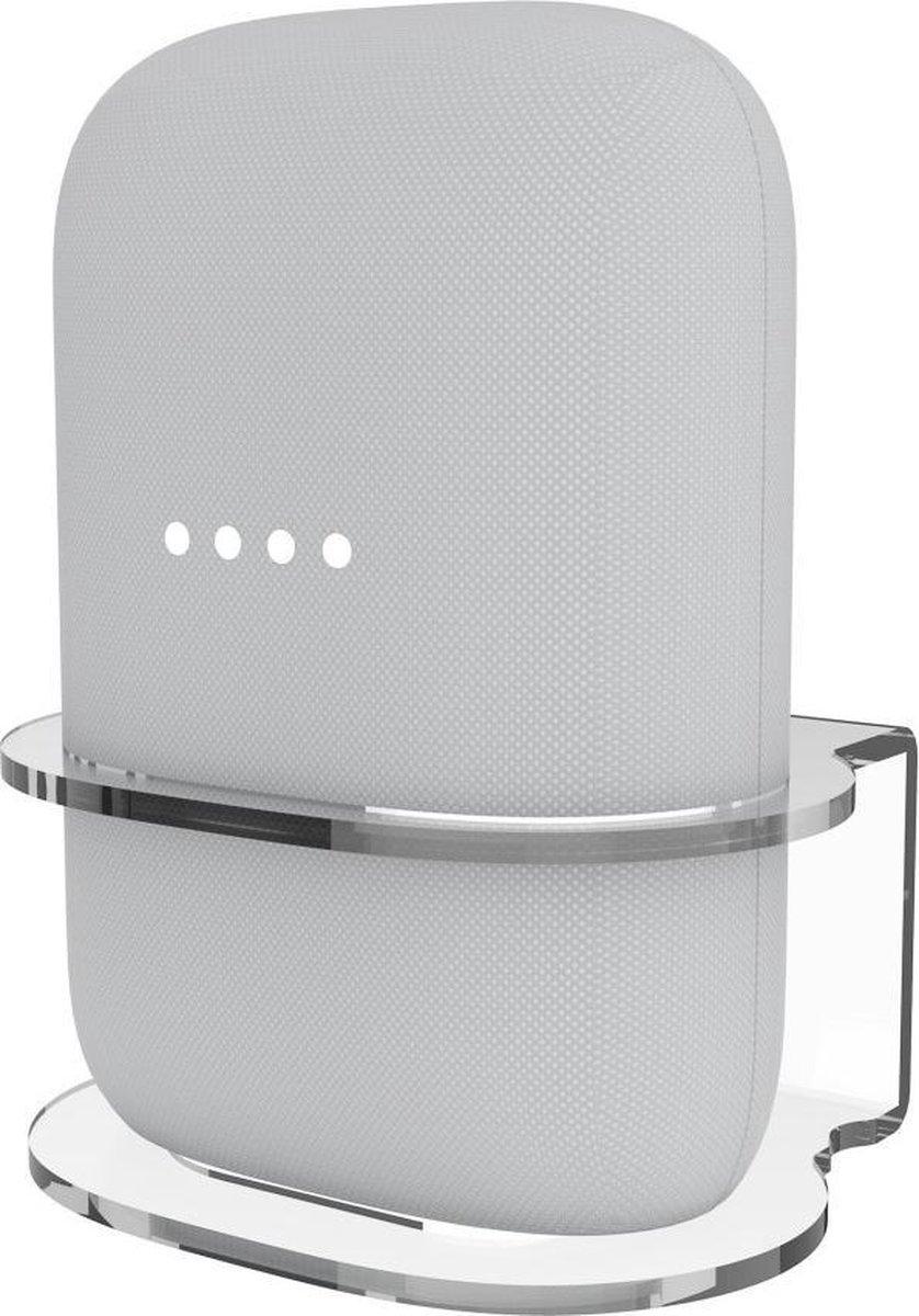 Luxe Wandsteun / Tafel Dock Charger Standaard Houder Voor Google Nest Audio Smart Speaker - Muurbeugel Wand Docking Station Oplaadstation Beugel Case Mount - Desk Muur Stand Steun - Ophang Wandbeugel Laadstation - Muursteun - Transparant