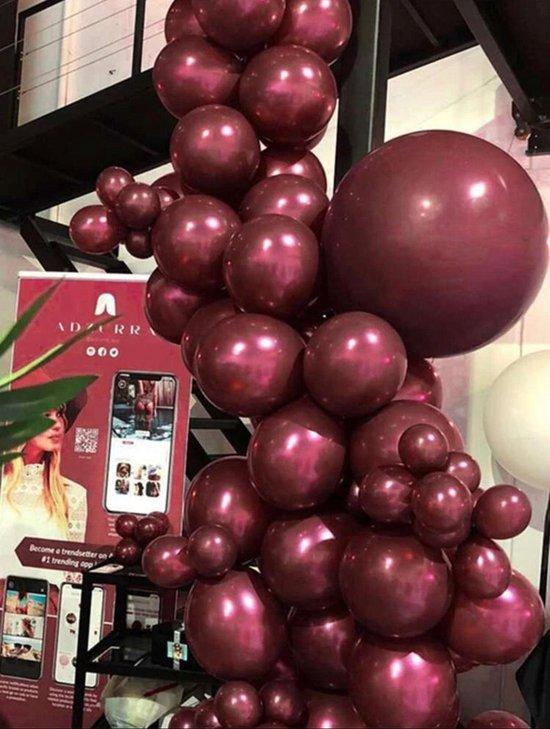20x Chrome Metallic rood violet Helium Feest Ballonnen Set - Verjaardag Versiering  -