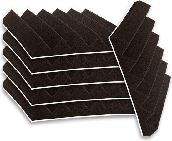 Zelfklevende geluidsisolatie wedge   Akoestische panelen   isolatieplaten   Zelfklevende wandpanelen   Studioschuim      Geluidsdemper   30 x 30 x 5 cm   0,53m2   6 stuks - Zwart