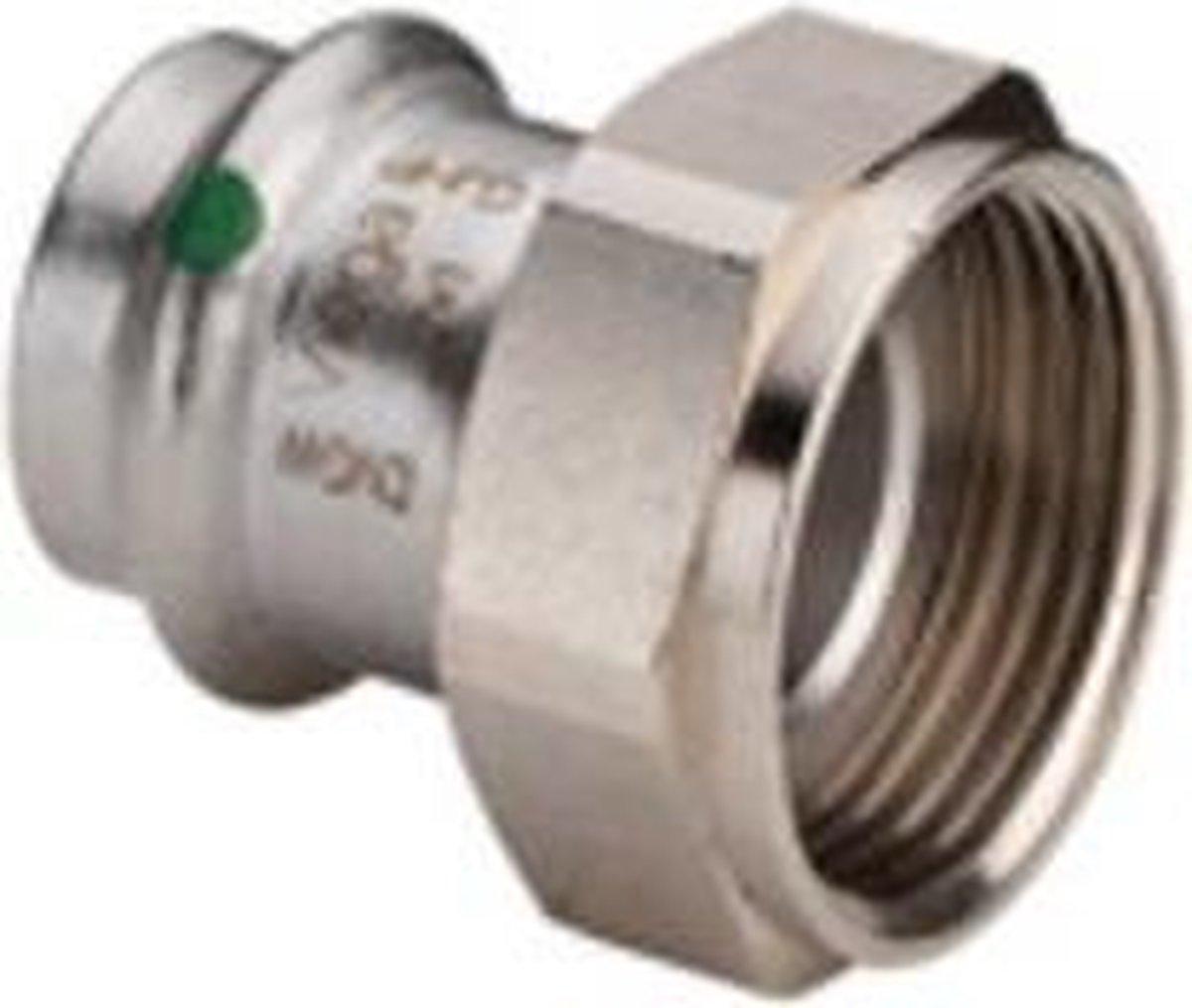 Sanpress Inox koppeling 2 delig SC pers bi.dr. 22mmx1 bi