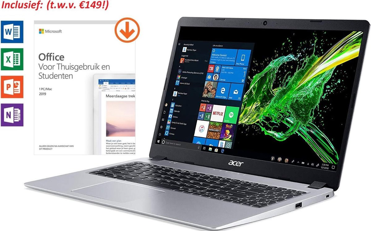 Acer Aspire 5 Slim, Ryzen 3, 8GB RAM, 128GB SSD, Incl. Office 2019 Home & Student t.w.v. €149! (Word, Excel, Powerpoint, OneNote)
