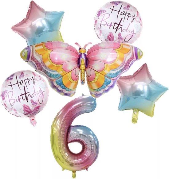Dieren ballon - 6 jaar ballon - Kinderfeestje - Zes jaar - Verjaardagfeest - ballonnen pakket - Kinderfeestje pakket - Vlinder ballonnen pakket