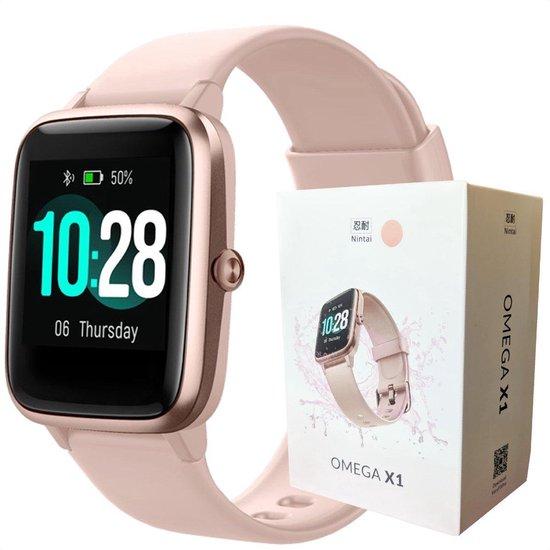 Nintai® - Smartwatch Dames Rose Goud - Hartslagmeter Activity Tracker - Waterdicht - 9 Sporten - Batterijduur 7 dagen