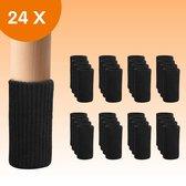 FLOOQ - Stoelpoot Doppen – met Anti-Kras Vilt – Stoelpoot beschermers - 20-55mm - Vloerbescherming - Stoelpoot Sokken – Stoelpootbeschermers – 24 Stuks – Zwart – Stof