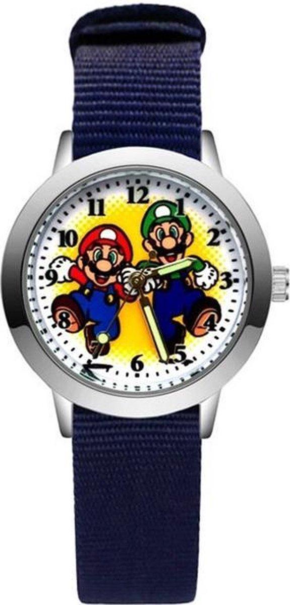 Super Mario - Kinderhorloge - Mario - Horloge - Mario Kart - Mario Speelgoed - Donker Blauw