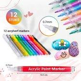 Afbeelding van Stiften - Verfstiften - 0.7 tip - Acryl stiften - Happy Stones - 12 kleuren - Acrylverf