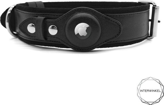 Apple Airtag honden halsband - Airtag hond - honden tracker - gps tracker - halsband hond leer - zwart S