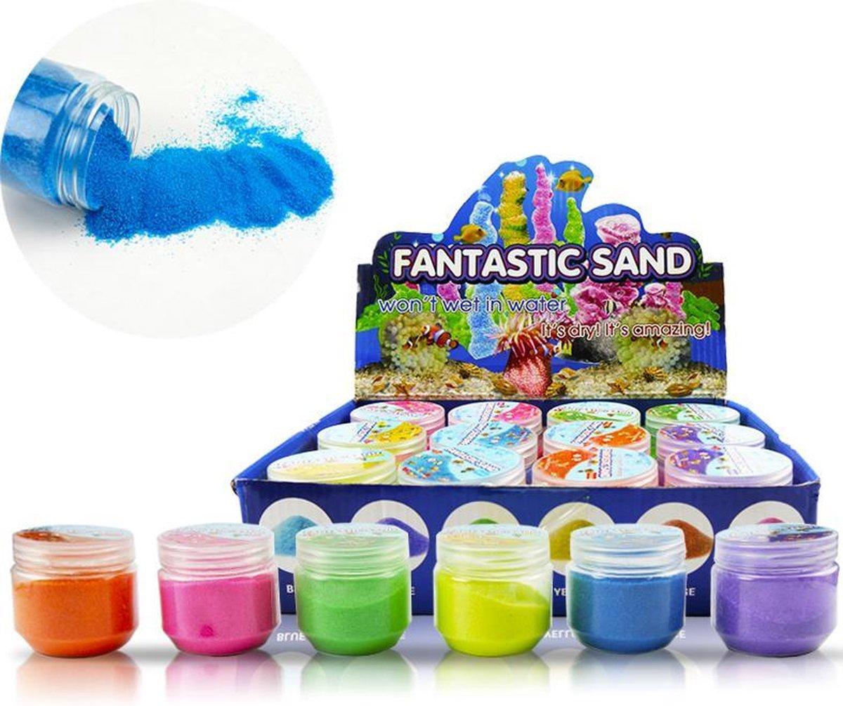 Kinetic Sand - Magic Sand - Speelzand - Magisch Zand - Zand Dat Niet Nat wordt - In 6 Kleuren - Geel - Roze - Groen - Blauw - Paars - Oranje -1250 Gram - 12 stuks In 1 Verpakking - Speelgoed Zand Creatief - Fantastic Sand - Speelgoed Voor Kinderen