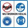 Mondkapje verplicht sticker - corona sticker - gebod sticker - 5x 20cm x 20cm