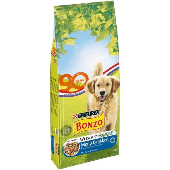 Bonzo - VitaFit Menubrokken Adult - Kip en groenten - Honden droogvoer - 15 kg