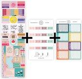 """Uitgebreid stickerpakket voor jouw planner, agenda of bullet journal, met pastelkleurige maandtabs, watertracker stickers en """"positiviteit die blijft plakken""""-stickers."""