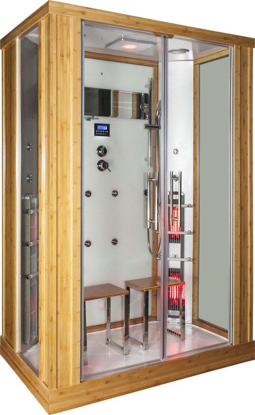 Astera Rustica Infrarood Stoomcabine 2 Persoons 90x145x215 cm Sauna met mengkraan regendouche massagejets LED-verlichting Bluetooth