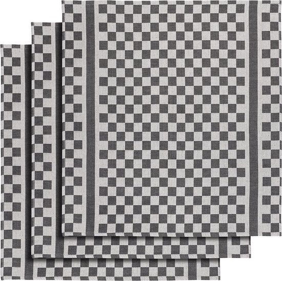 De Witte Lietaer Keukenhanddoek 65x70 Cm Katoen Wit/zwart 3 Stuks