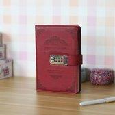Luxe Vintage Persoonlijk Geheim Dagboek Met Codeslot - Notebook Met Geheime Code Slot - Secret Diary - Rood