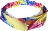 Fako Fashion® - Metallic Cross Haarband - Hoofdband - Polyester - Regenboog