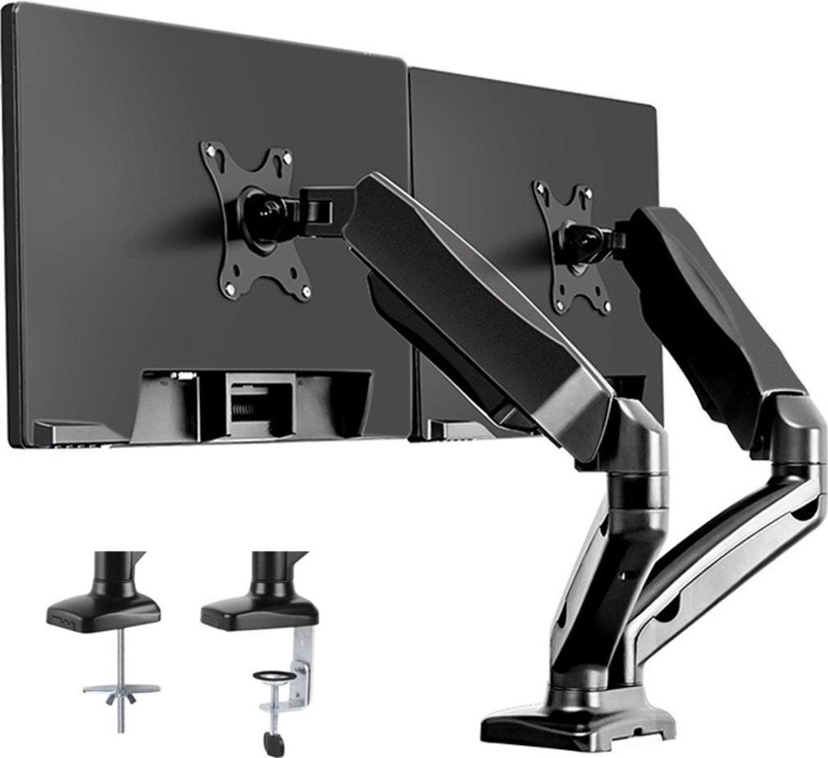 Douxe FM-SPM2 - Dubbele Gasgedreven Monitorbeugel - Monitor Arm 13-27 Inch - Full Motion voor op Kantoor en Thuis - Zwart kopen