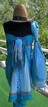 Kikoy pareo handdoek light blue - beach pareo - wikkeldoek - 170x95cm