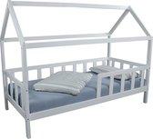 Bedhuisje wit 90 x 200 cm, met barrière incl. rolbodem
