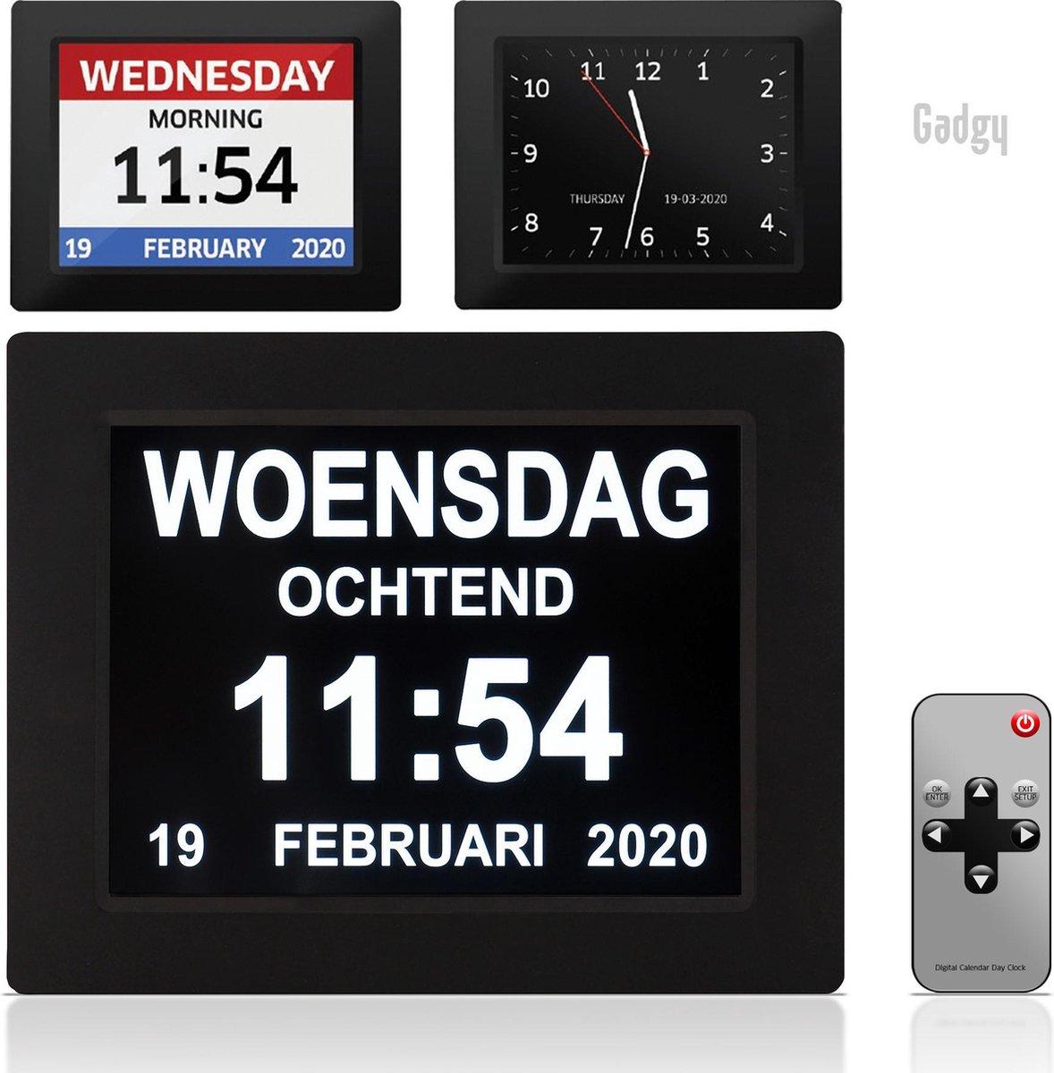 Gadgy Digitale Dementieklok - Kalenderklok met dag, datum, tijd en alarm   Alzheimer - met afstandsb