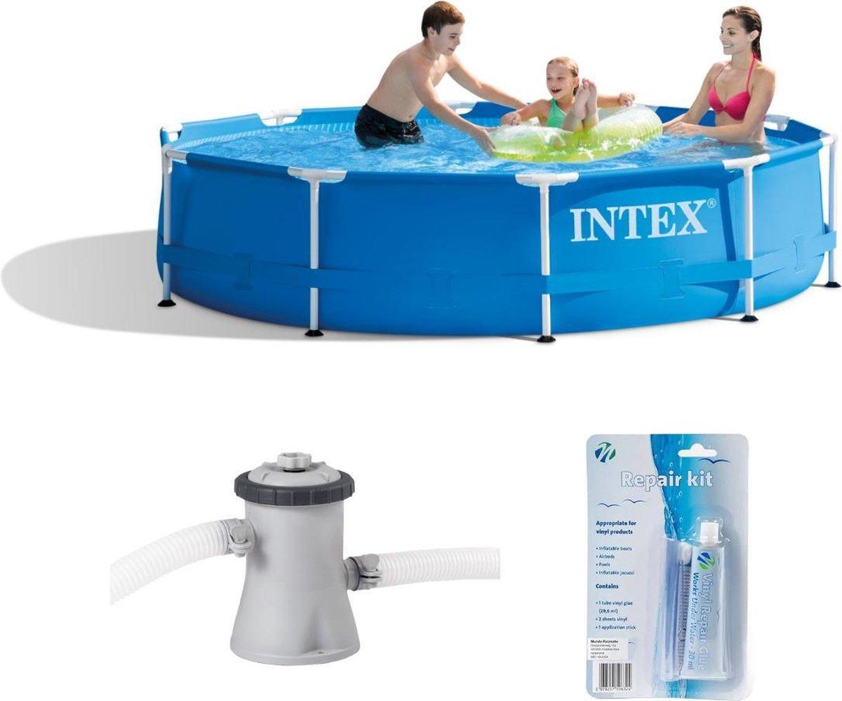 Intex Metal Frame zwembad 305 x 76 cm met 12-Volt filterpomp (met reparatiesetje)