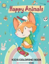 Happy Animals; Kids Coloring Book