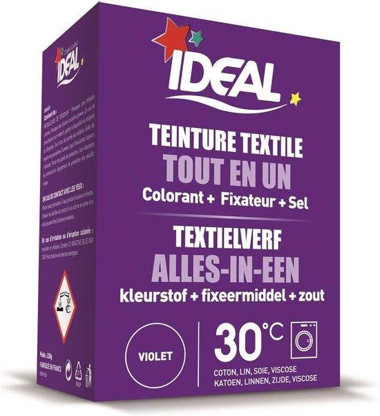 Ideal textielverf Paars - 230 gram - Wasmachine - Alles in 1 - 30ºC - Handwas - Tie Dye - Eenvoudig en milieuvriendelijk in gebruik