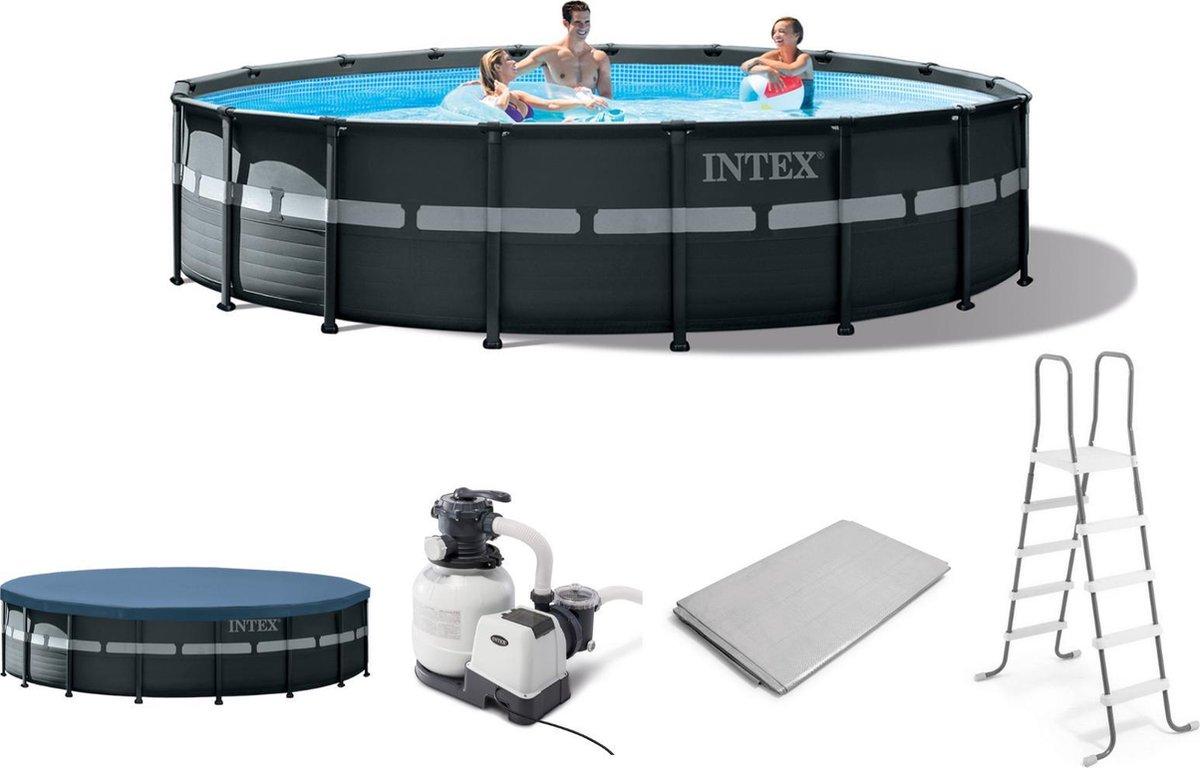 Intex Opzetzwembad - Ultra XTR Frame - 732 x 132 cm - Antraciet - Met accessoires