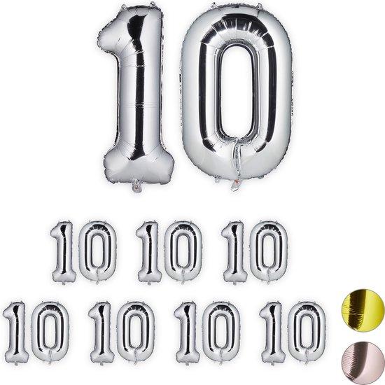 relaxdays 8x folie ballon 10 - cijfer ballon groot - verjaardagsballon - zilver - xxl