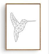 Poster Colibri / Specht - 40x30cm / A3 - Lijnen Minimalistisch - Muurdecotatie