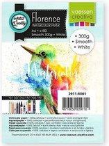 Vaessen Creative Florence Aquarelpapier A6, Glad, Wit, 300 gram, 100 vellen voor Waterverven, Schilderen, Handlettering, Kunstprojecten en meer