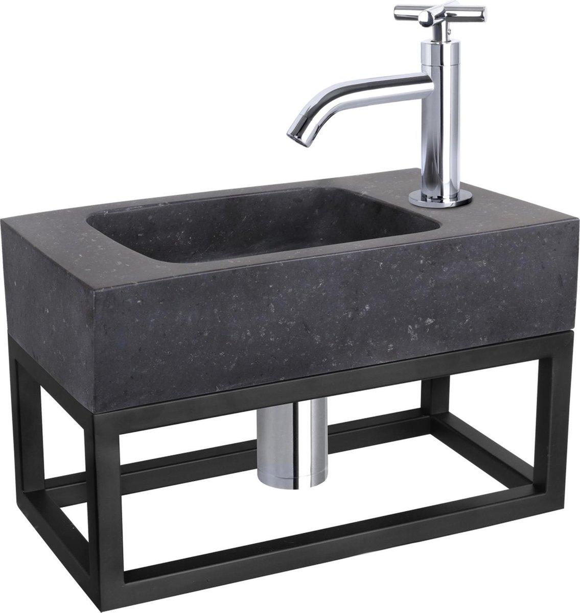 Differnz Fonteinset Bombai black - Natuursteen - Kraan kruis chroom - Met handdoekrek - 40 x 22 x 9 cm