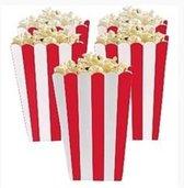 Popcorn bakjes rood 6 stuks -16 cm hoog - Popcornbakjes/chipsbakjes/snackbakjes kinderverjaardag/kinderfeestje.