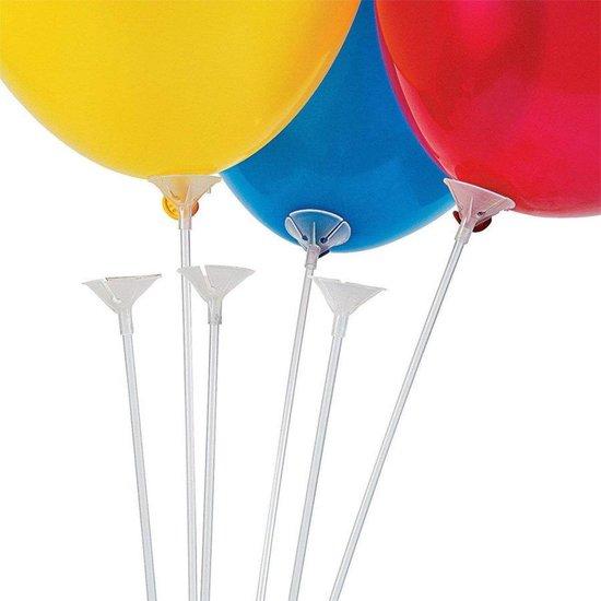 Ballonhouders wit 20 stuks 40 cm lang / Draagstaaf in de kleur Wit - feestjes - Babyshower