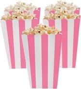 Popcorn bakjes roze 6 stuks -16 cm hoog - Popcornbakjes/chipsbakjes/snackbakjes kinderverjaardag/kinderfeestje - Babyshower