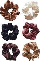 Satijnen scrunchies |Zijde zacht | Haarwokkel | 6 pack  effen scrunchies |beige zwart bruin