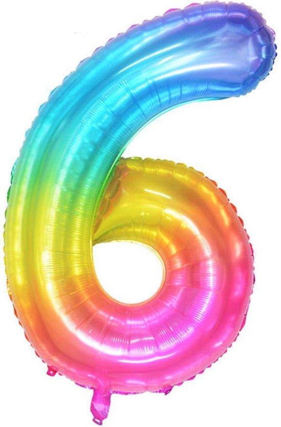 DW4Trading® Cijfer ballon 6 regenboog 100cm
