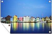 De gekleurden huizen op Curaçao tuinposter 120x80 cm - Tuindoek / Buitencanvas / Schilderijen voor buiten (tuin decoratie)