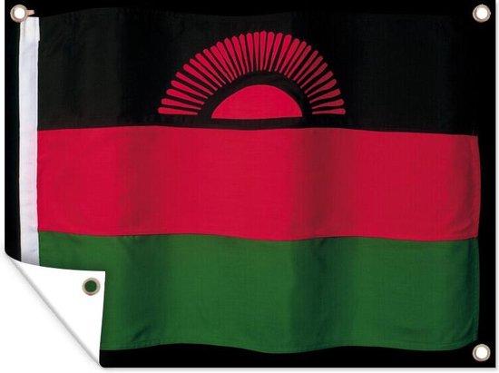 De vlag van Malawi op een zwarte achtergrond Tuinposter 160x120 cm - Tuindoek / Buitencanvas / Schilderijen voor buiten (tuin decoratie) XXL / Groot formaat!
