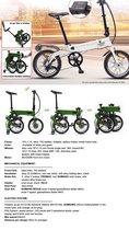 """vouwfiets, folded eBike, voor metrol+auto+vakantie, 7 versnelling, alumunium, donker Groen kleur/ 20""""-36V/250W"""