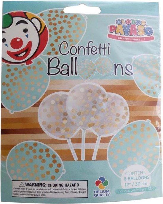 Confetti ballonnen goud 6 stuks