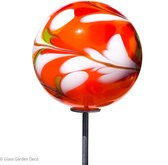 Glass Garden Deco - Tuindecoratie - Handgemaakte glassculptuur - Bol van glas - Oranje - D=18