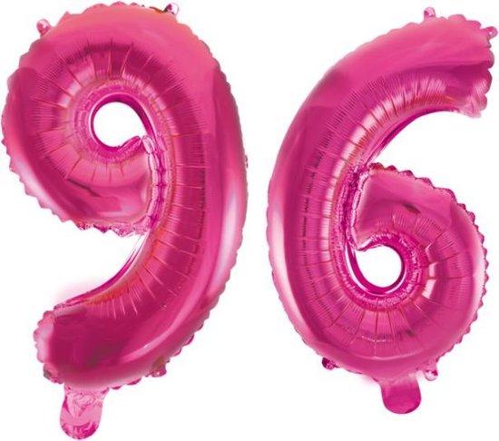 Folieballon 96 jaar roze 41cm